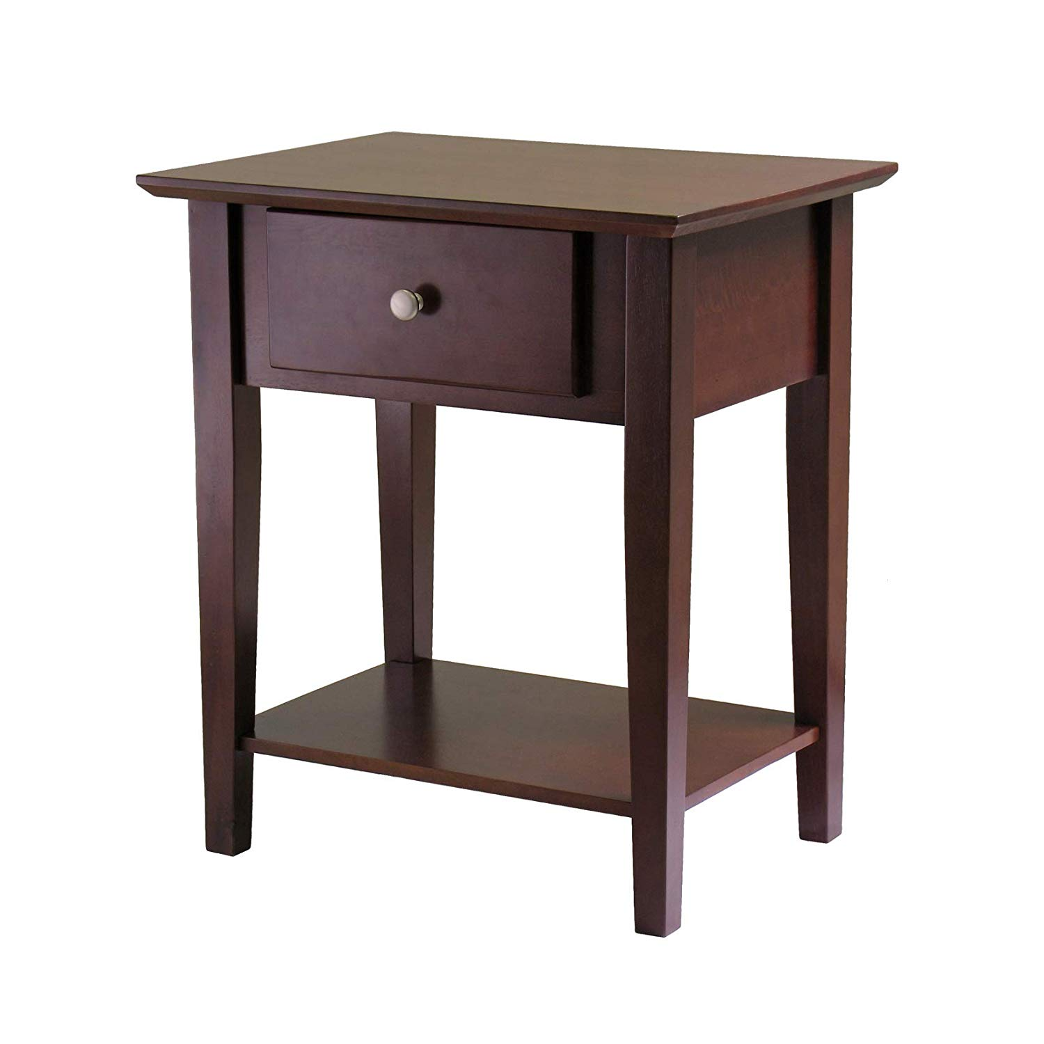 winsome wood shaker accent table antique walnut kitchen dining side with umbrella hole placemats for round counter high pier imports patio furniture iron nesting tables pearl drum