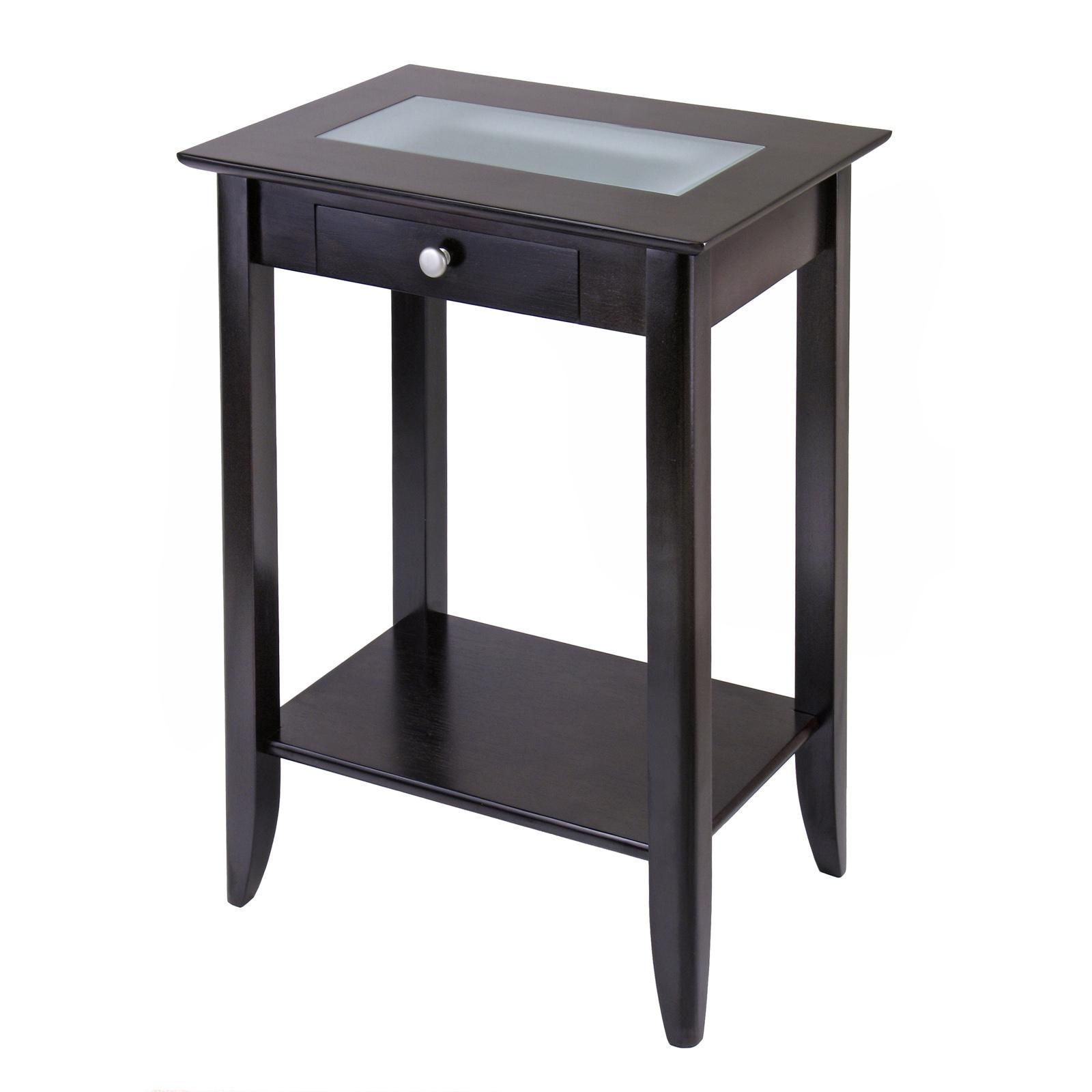 winsome wood syrah accent table with forsted glass shelf drrao small tiffany lamps round antique drawer patio cover modern contemporary coffee scandinavian side vanity unit basin