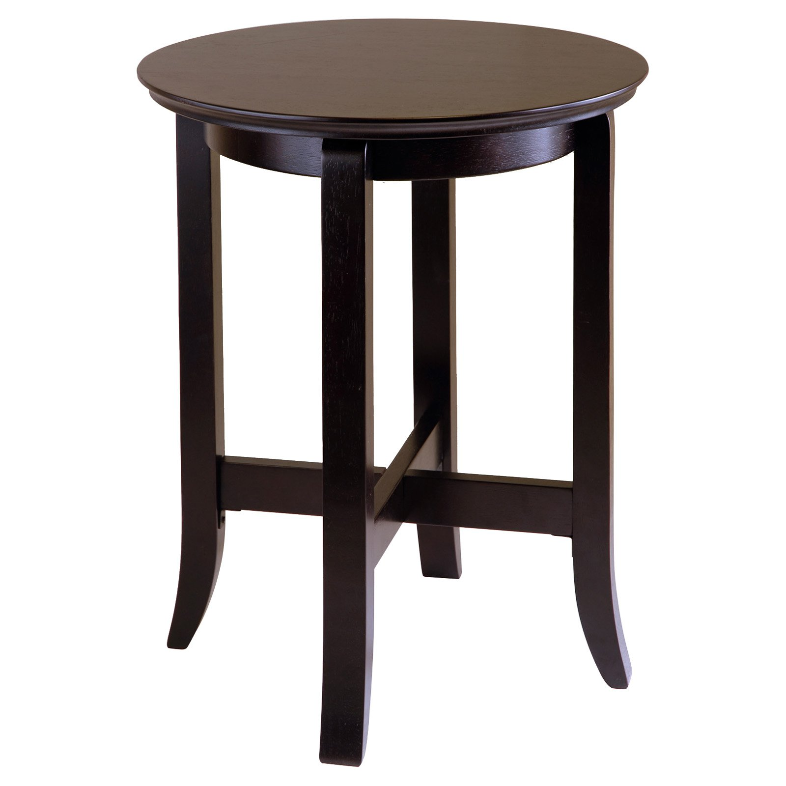 winsome wood toby round accent table espresso finish hairpin legs cordless lamps with shade small mirror butler specialty company pier one imports outdoor furniture tiffany tulip