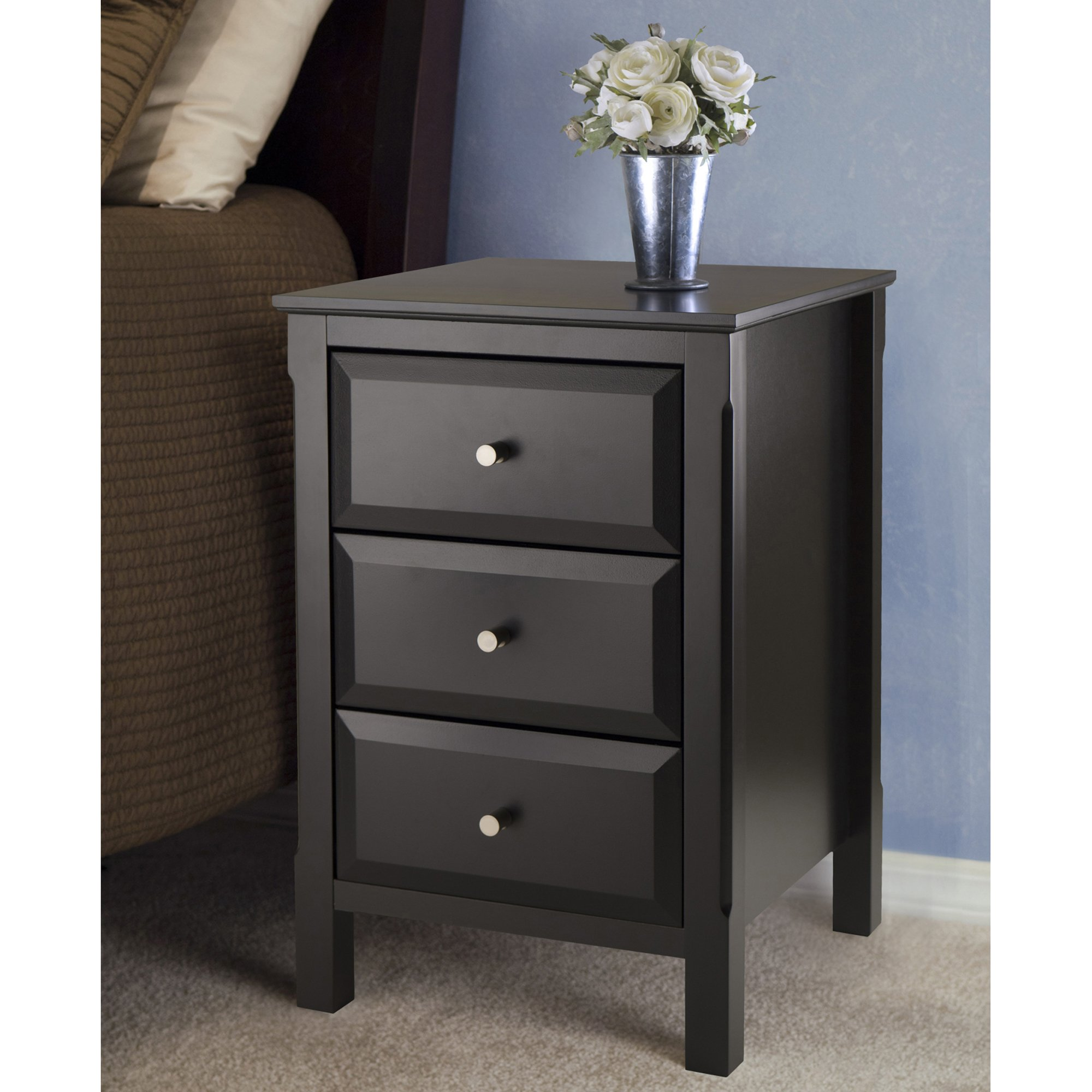 winsome wood transitional black composite accent table timmy nightstand side dimensions mosaic end brown bedside raw furniture modern teak outdoor round glass top marble corner