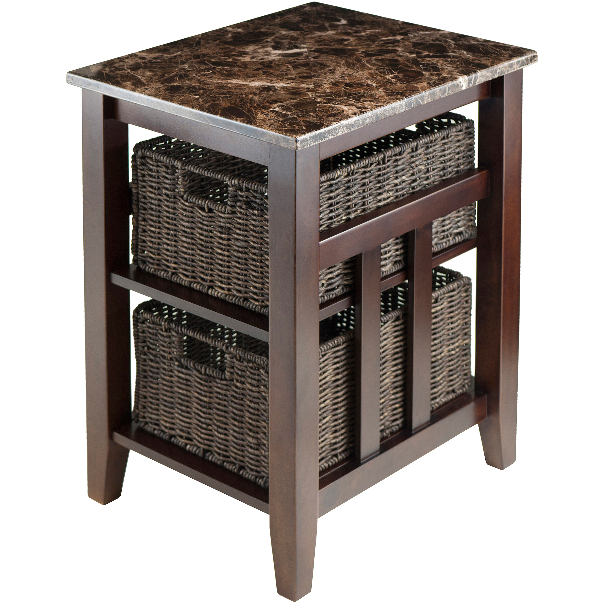 winsome wood zoey faux marble console table baskets walnut wicker storage accent pier dining sheesham furniture battery operated room light industrial end diy bar type woven metal