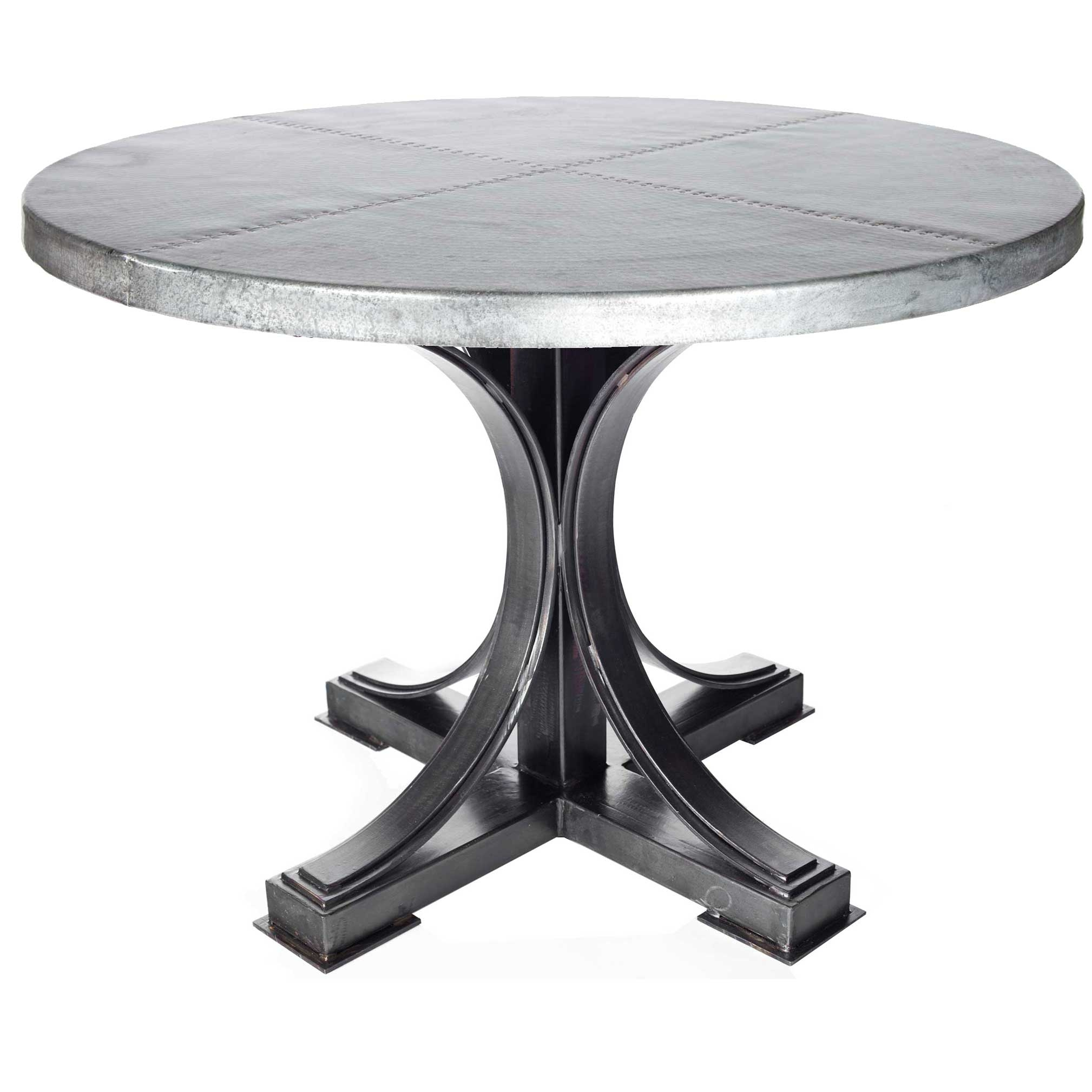 winston iron dining table with round hammered zinc top twi accent larger set furniture target shoe rack fire pit and chairs grey marble storage cabinets bedroom astoria collection