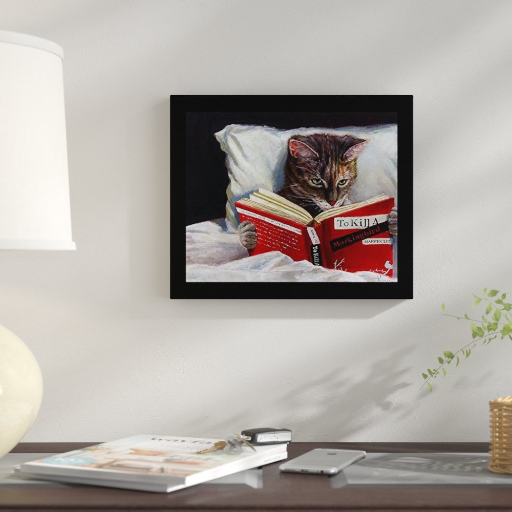 winston porter late night thriller cat reading kill mockingbird framed graphic art print wood triller accent table target reviews slide under sofa ikea outdoor seating tall lamps