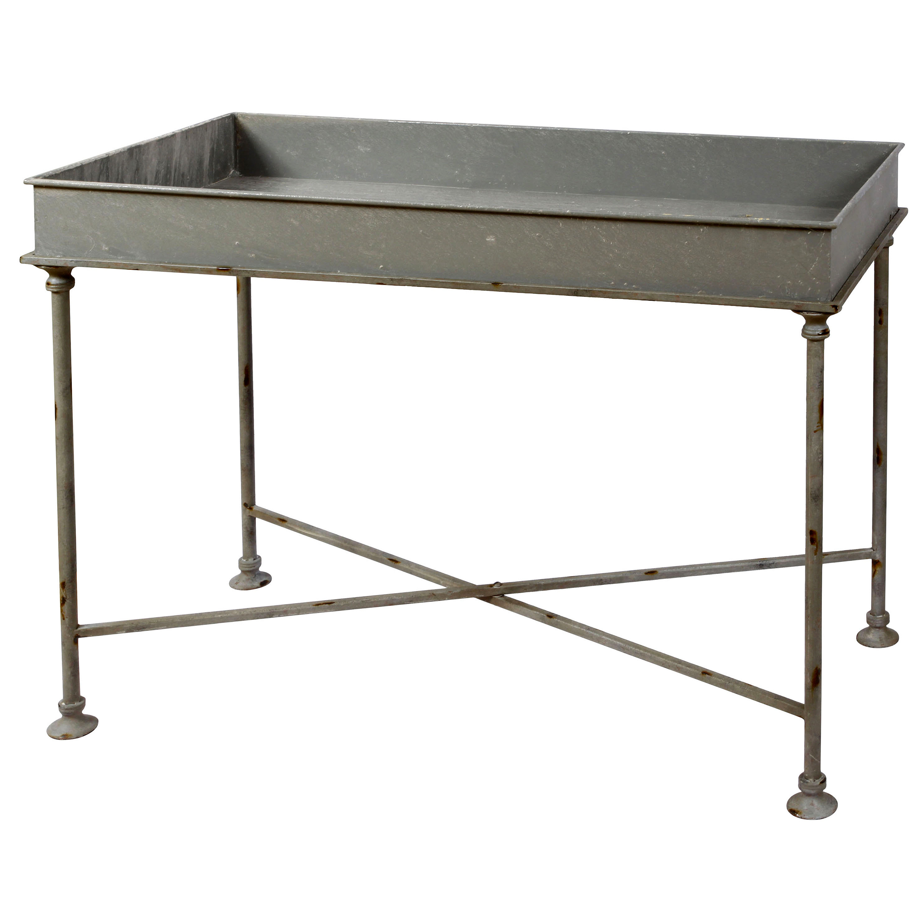 winward silks galvanized tray table metal accent demilune console tablecloth concrete look outdoor furniture end tables with storage white coffee hobby lobby mirrors rectangular
