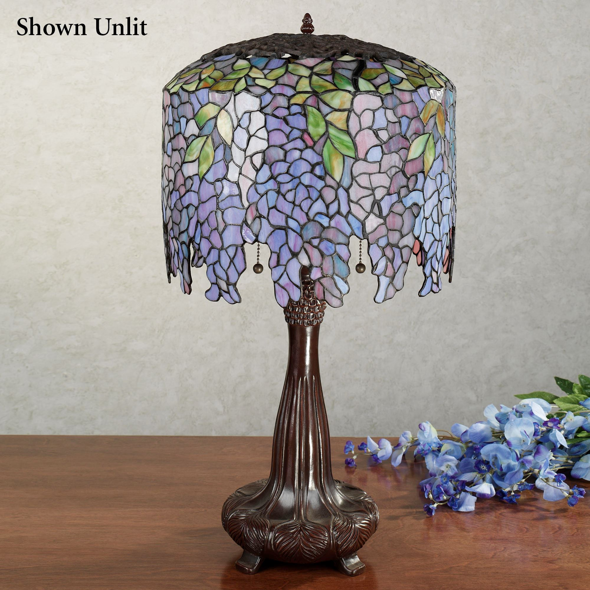wisteria stained glass table lamp accent with cfl bulbs each bulb small round nesting tables outdoor wood patio furniture teal kitchen decor modern linens tory burch pearl