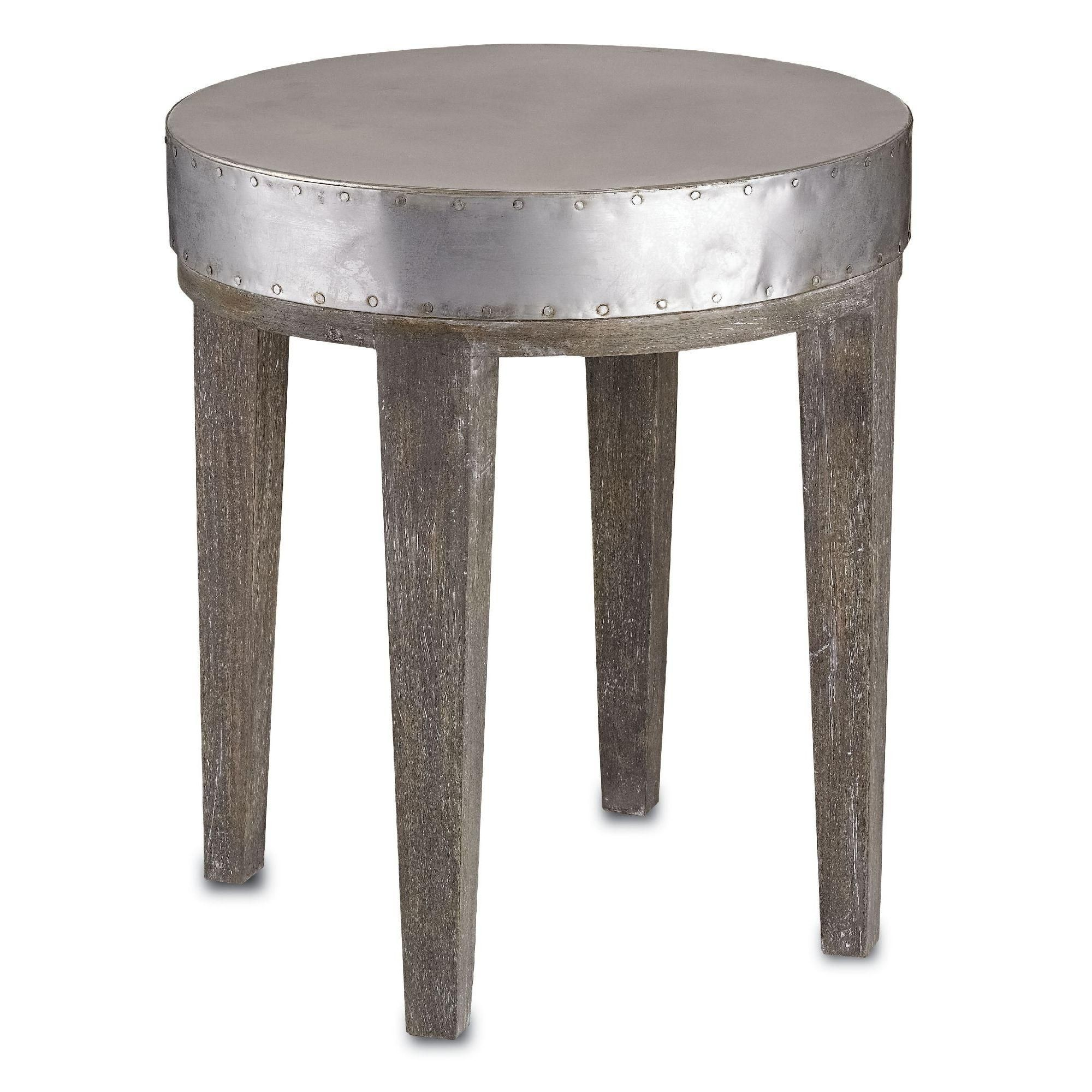 with nod both industrial and chic references this small accent round metal table has top rivet details around the edges there are four gray full marble coffee black side brass leg
