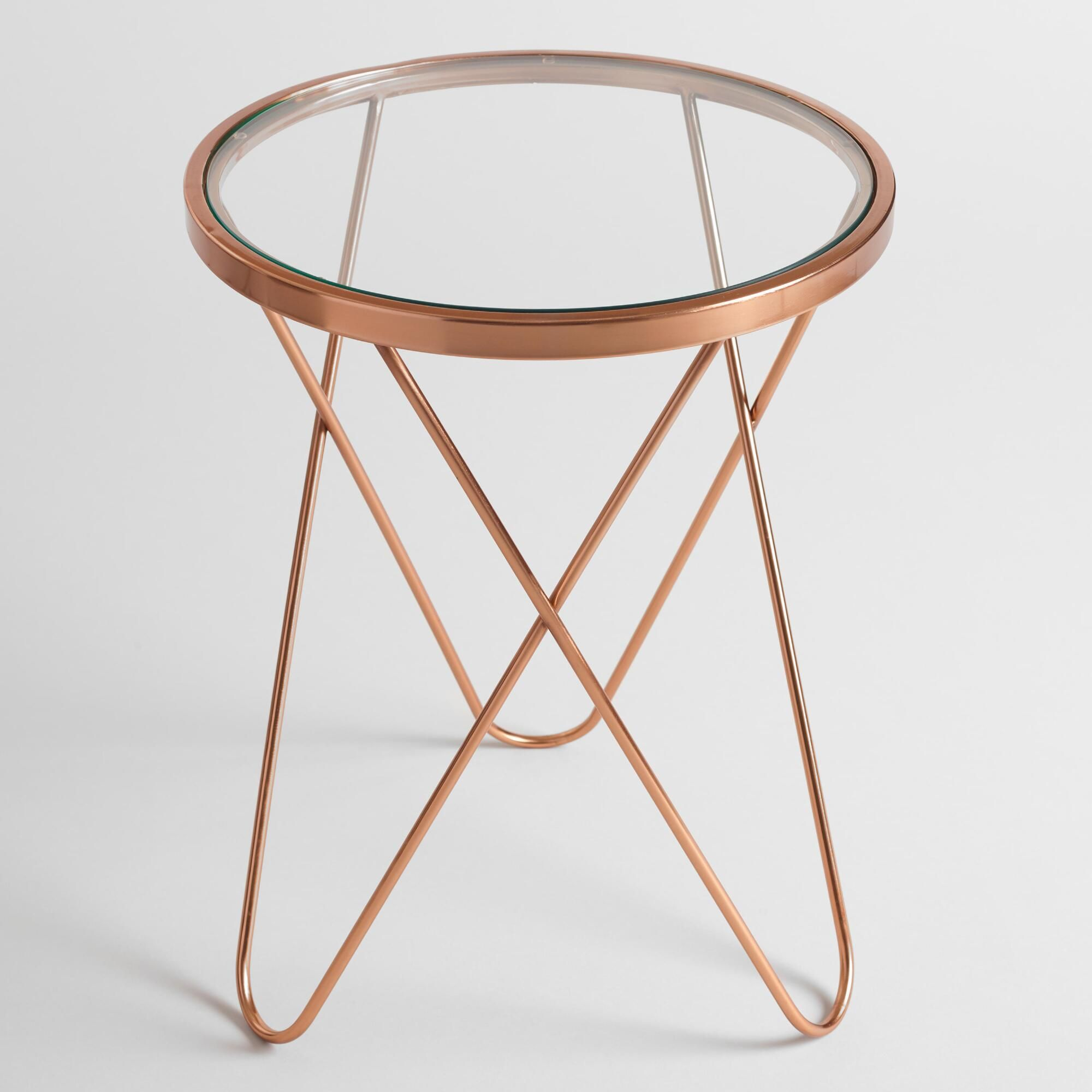 with round glass top and rose gold metal frame our accent table sophisticated side modern update the classic mid century style hairpin trestle dining perspex nest tables reclaimed