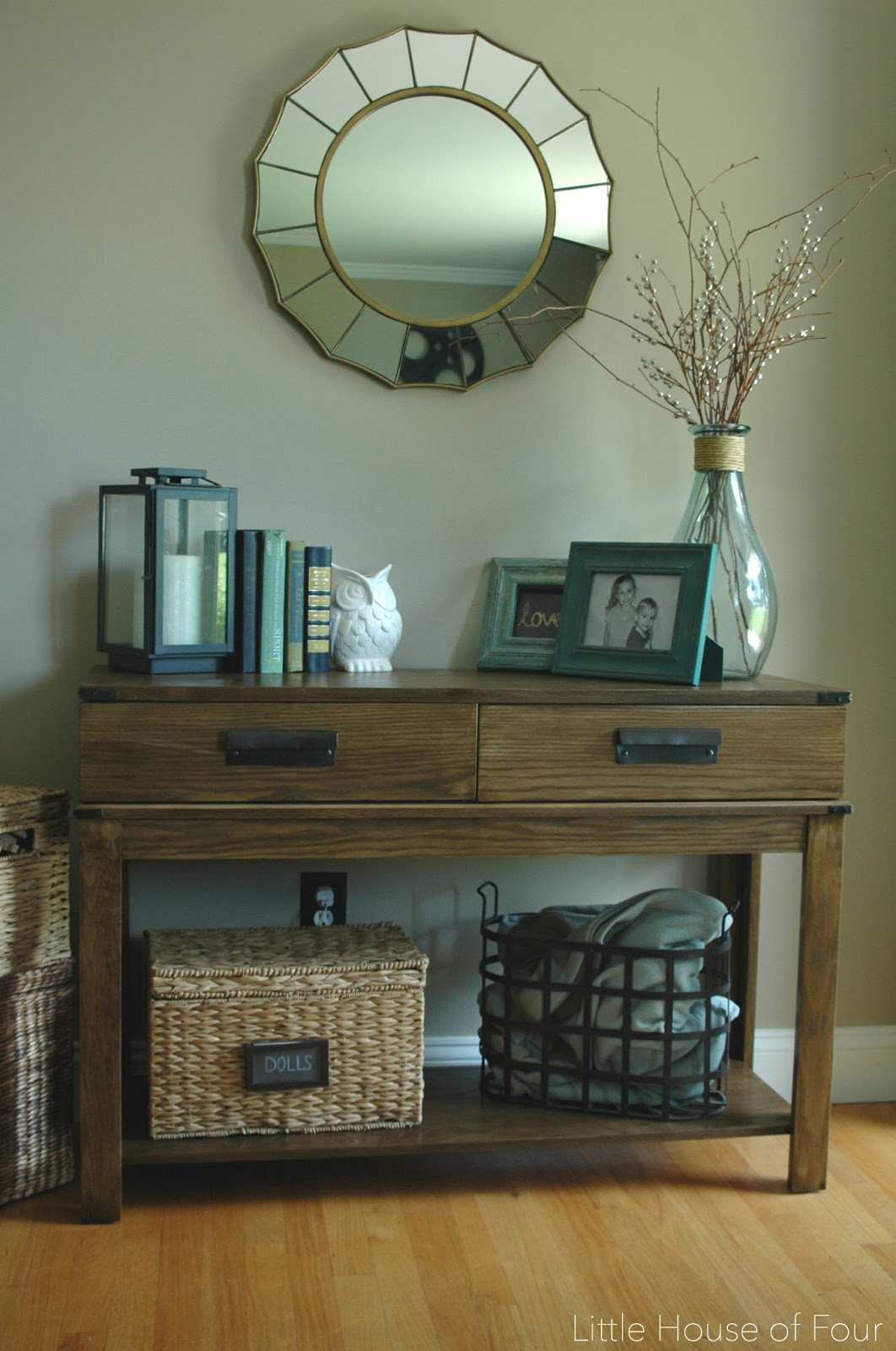 wonderful side table decor ideas for alluring small corner accent stunning entryway reveal diy plank wall tutorial upholstered chair with storage baskets pottery barn graphers