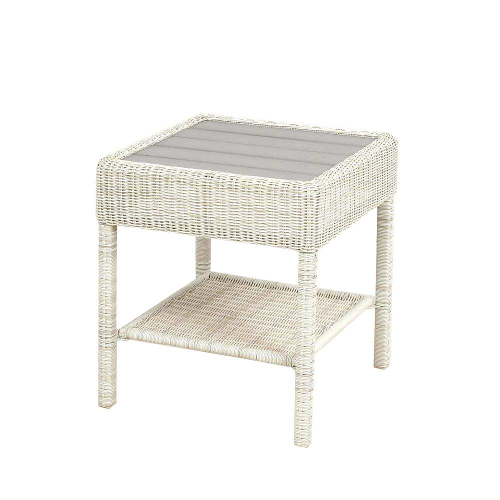 wonderful white patio side table with the lovely from hampton bay park meadows wicker outdoor accent home farmhouse extension dining stackable plastic tables ikea childrens