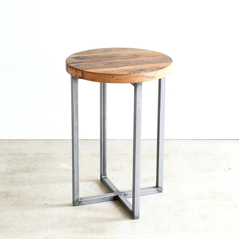 wood accent table metal rustic reclaimed round steel frame pedestal one drawer target antique inlaid tables side with marble tray chairs edmonton outdoor buffet server microfiber
