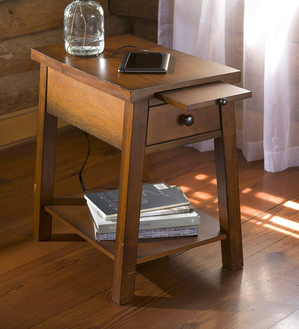 wood accent table with charging station tables outdoor storage bin pineapple lights furniture for tiny spaces round cloth black metal side modern nightstand lamps ashley chairside