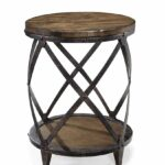 wood and metal accent table round reclaimed rustic onlyhereonlynow luxury magnussen pinebrook distressed natural pine end tables kitchen dining black brown adjustable inch with 150x150