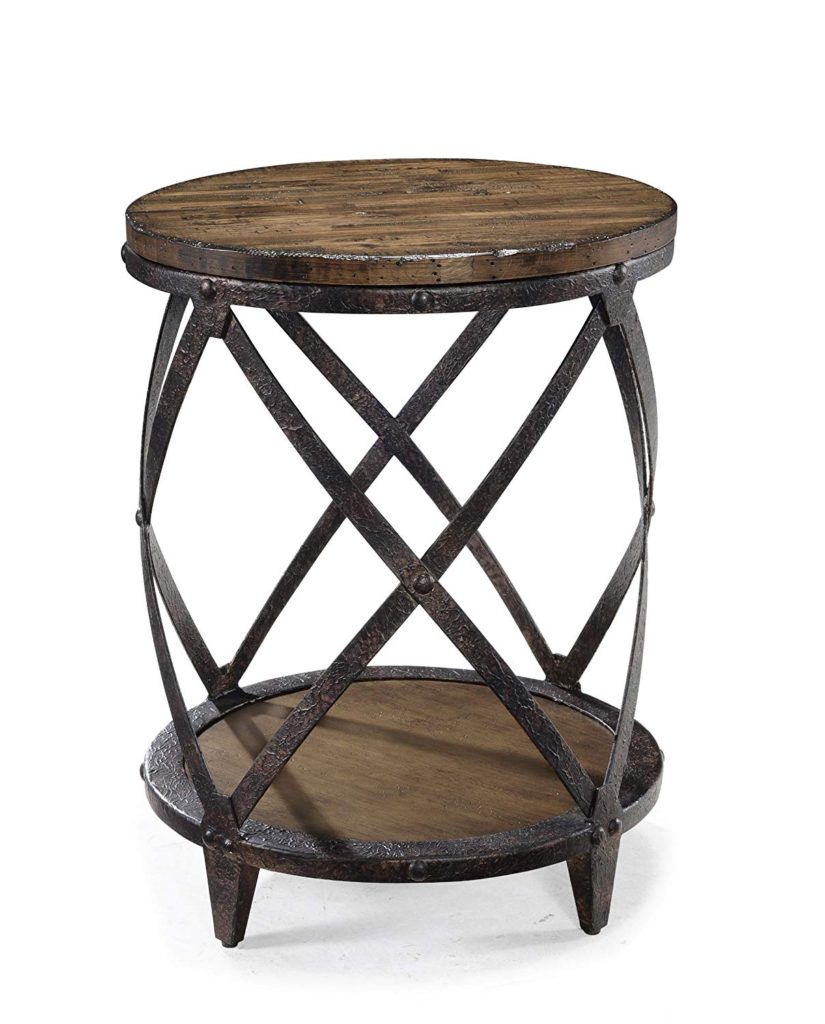 wood and metal accent table round reclaimed rustic onlyhereonlynow luxury magnussen pinebrook distressed natural pine end tables kitchen dining black brown adjustable inch with