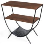 wood and metal console table with shelves round accent for living room antique oval side bistro umbrella glass gold legs reading lamp iron stand drum stool top pool furniture 150x150