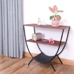 wood and metal console table with shelves round accent for pink living room trestle base target white outdoor furniture brisbane small green side narrow shelf behind couch glass 150x150