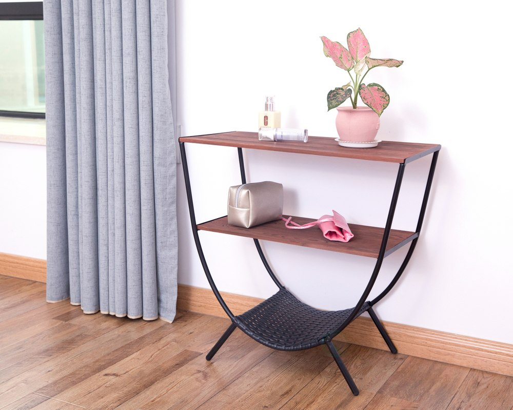 wood and metal console table with shelves round accent for pink living room trestle base target white outdoor furniture brisbane small green side narrow shelf behind couch glass