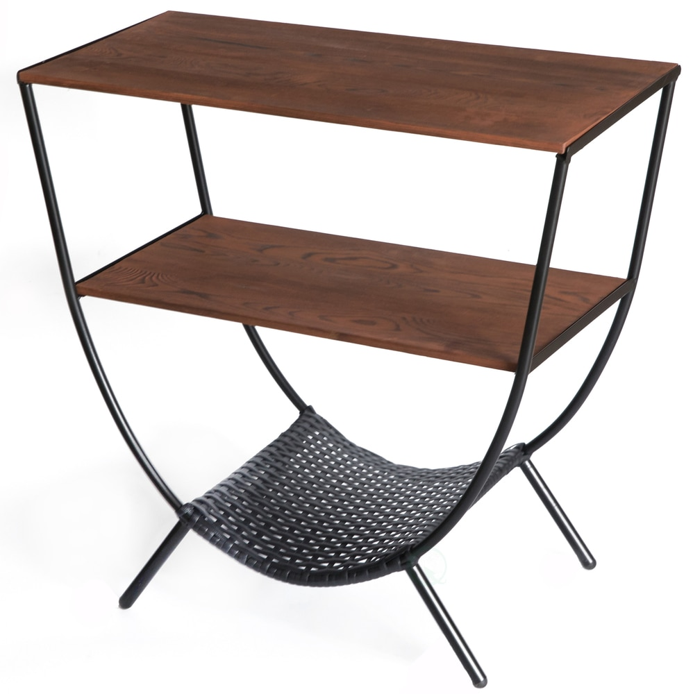 wood and metal console table with shelves round accent for tables living room divider wall rattan mats ikea kids storage ideas fruity mixed drinks sofa covers kmart beach coffee