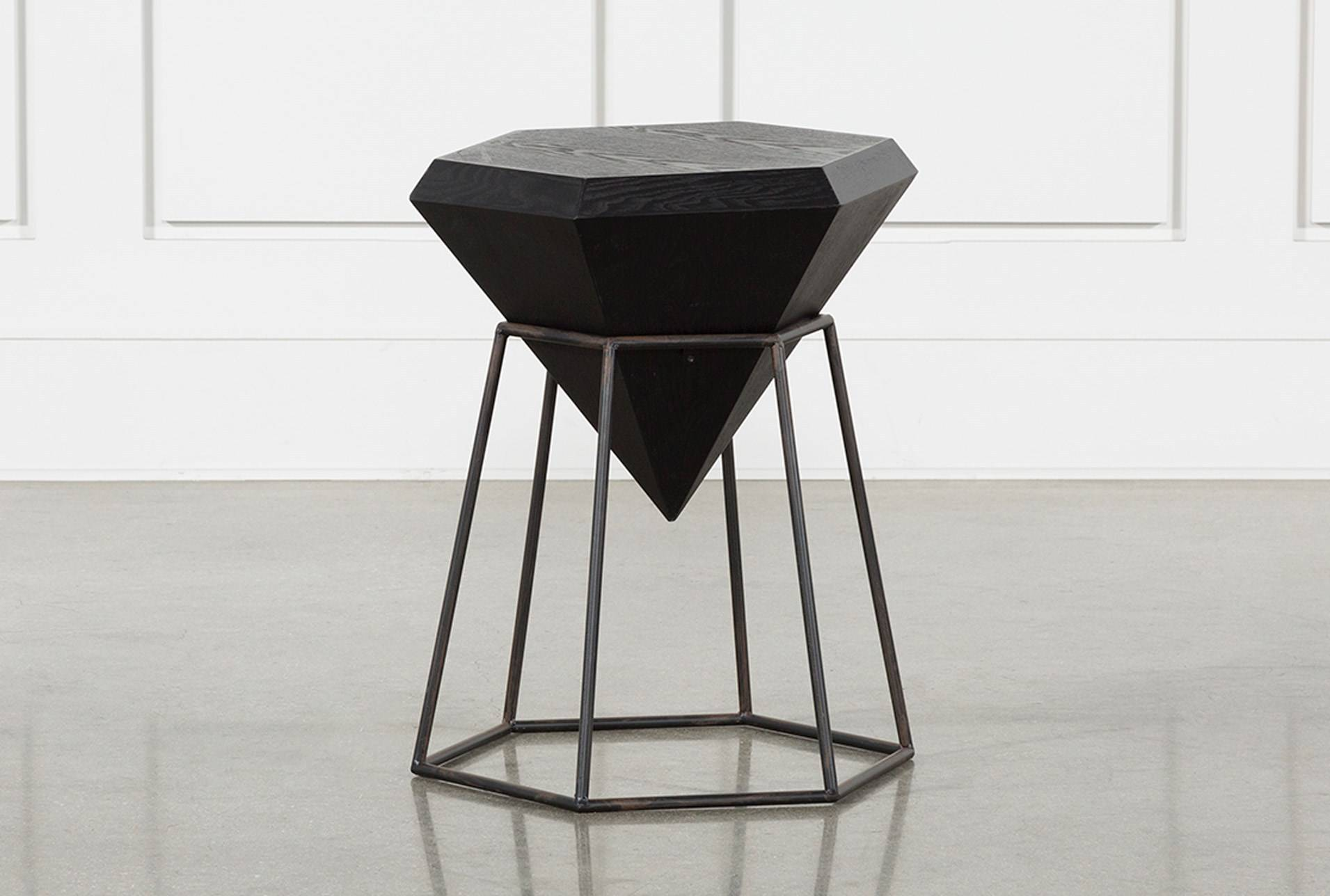 wood and metal diamond accent table living spaces black gray console ikea grey marble coffee mosaic patio chairs wine rack long counter height tall modern lamps leick corner