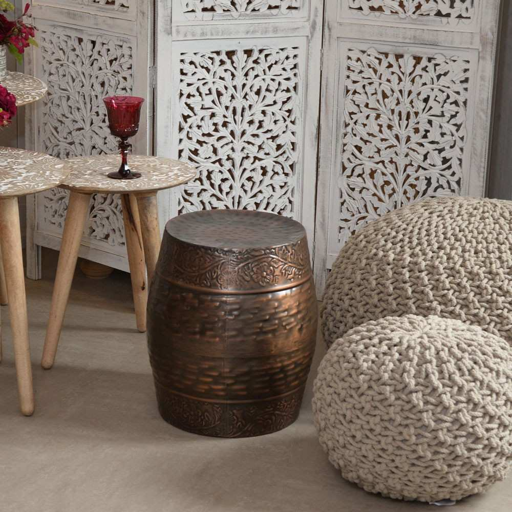 wood drum side table for vintage annie sloan trendy brilliant ceramic stool ideas home furniture accent black and glass end tables trestle dining legs round centerpieces oval