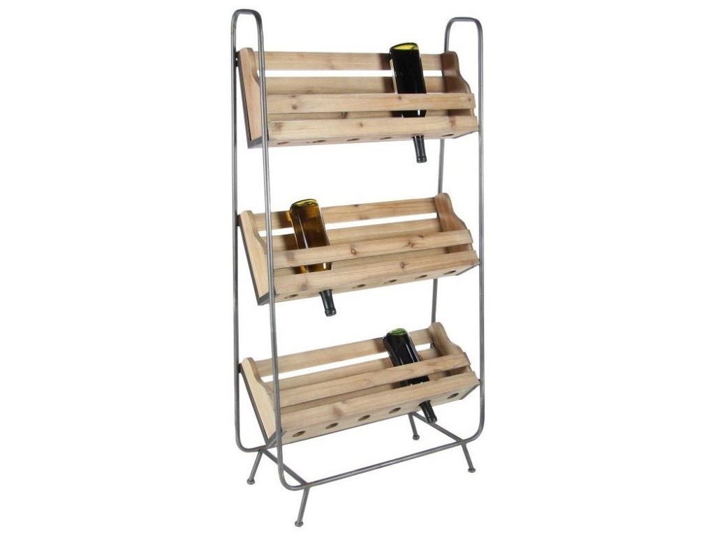 wood metal wine rack accent furniture uma enterprises inc products color table with furniturewood blanket box ikea console decor round gold glass coffee high end side tables