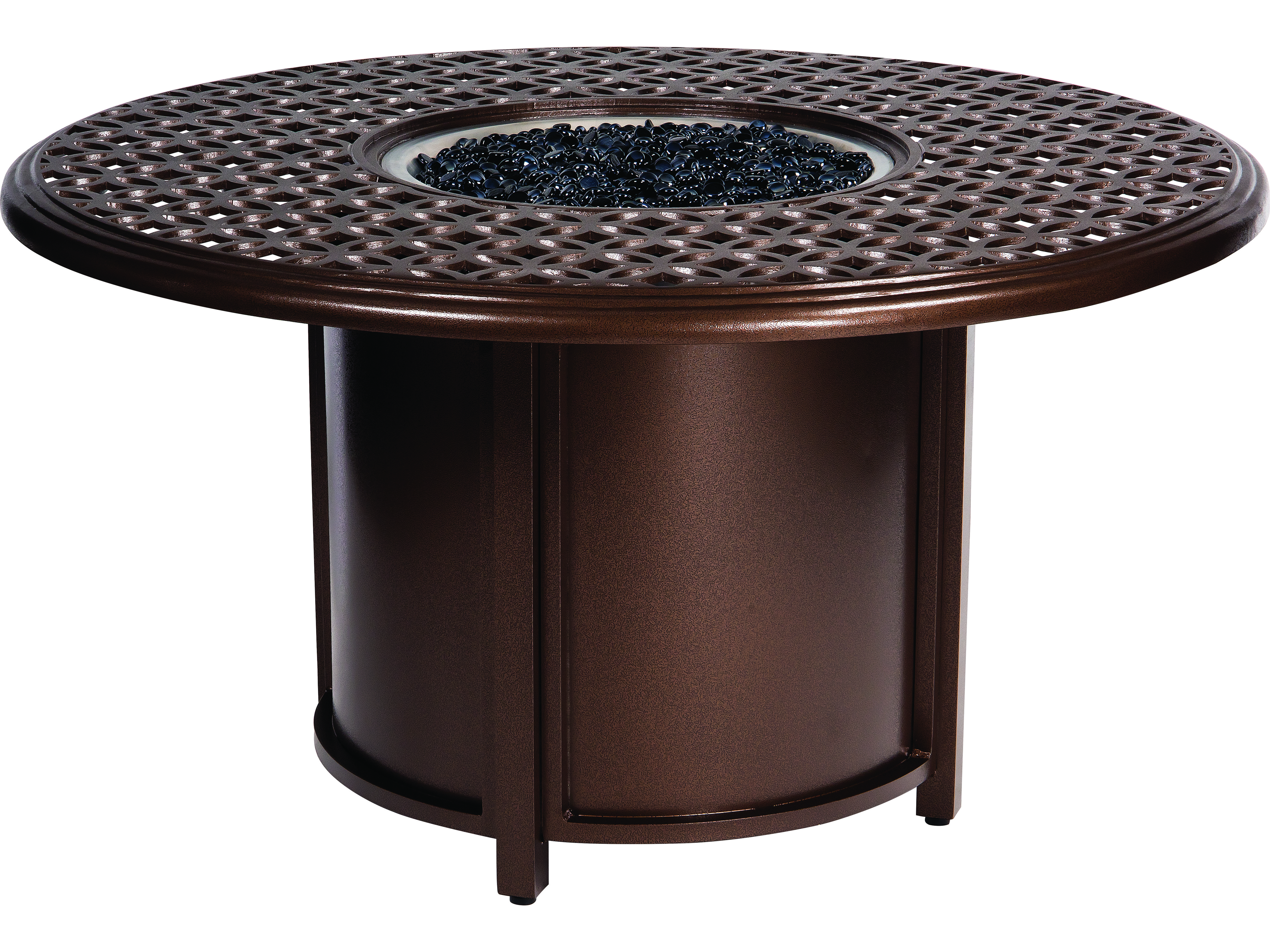 woodard casa cast aluminum fire table with round chat height accent touch zoom oak lamp end tables storage bedroom all metal coffee high nightstand card target small side windham