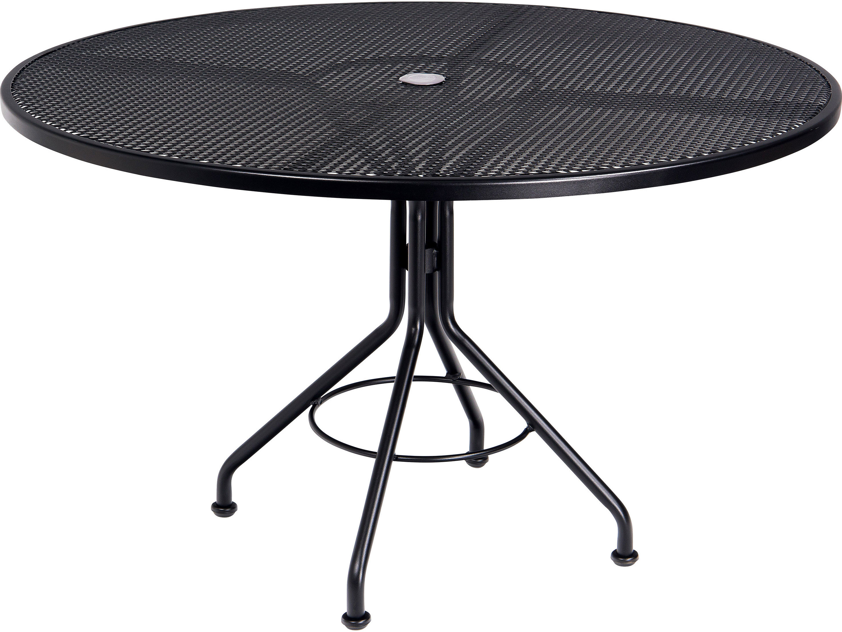 woodard mesh wrought iron round table with umbrella hole patio accent touch zoom retro designer chairs corner furniture futon mattress covers steel and glass side small coffee