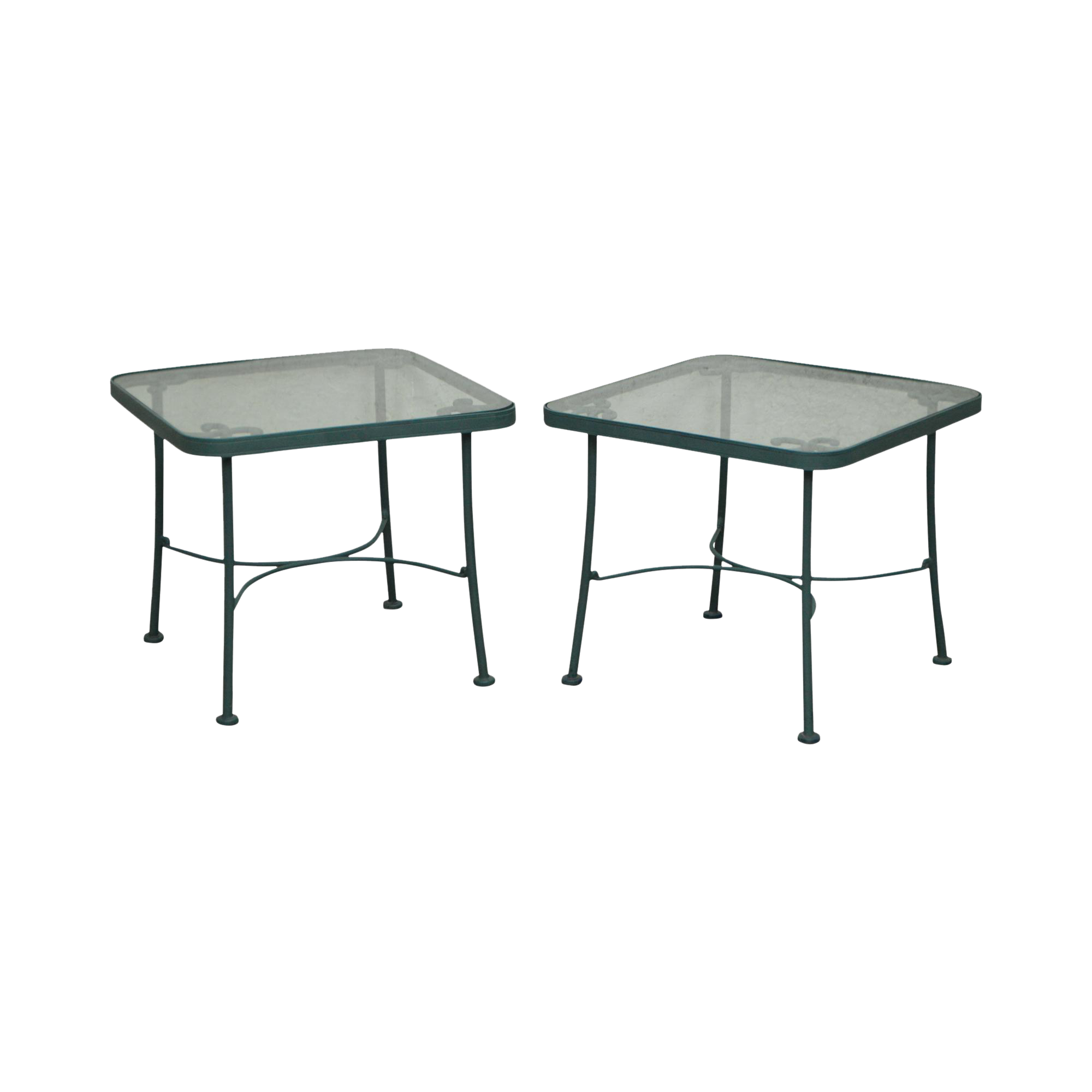 woodard pair green metal glass top patio side tables chairish accent console table dining clearance ott chair frame coffee with wood pewter purchase linens pier promo code sofa
