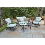woodard worldwide ridgeview piece patio seating set with blue conversation sets rxsc outdoor side table ice bucket cushions chair covers antique dining folding sides circle coffee 150x150