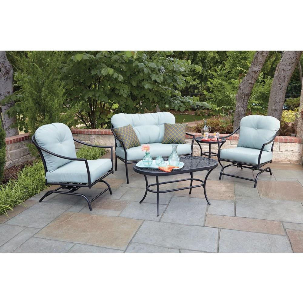 woodard worldwide ridgeview piece patio seating set with blue conversation sets rxsc outdoor side table ice bucket cushions chair covers antique dining folding sides circle coffee