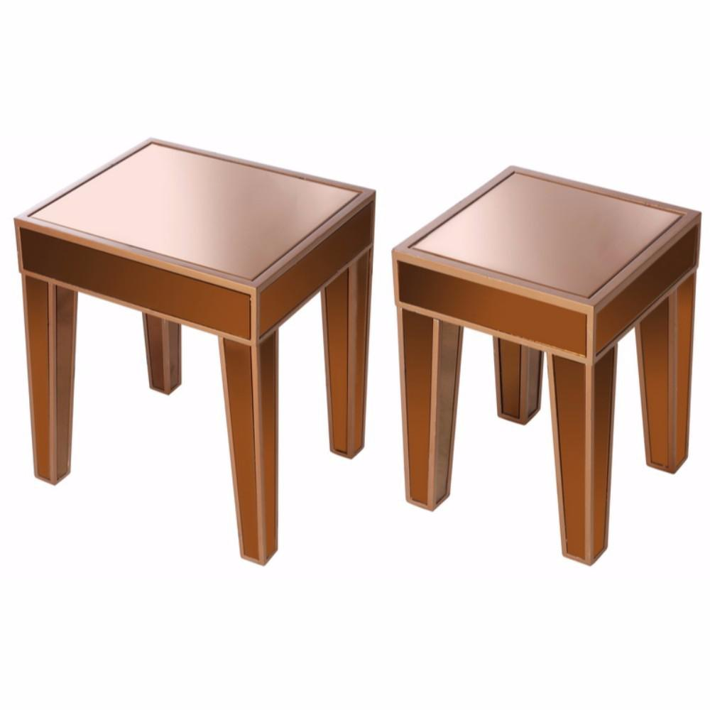 wooden accent side tables with mirrored top set brown wood table tablecloth for small round sofa coaster piece coffee matching bedside and chest drawers white acrylic green lamps