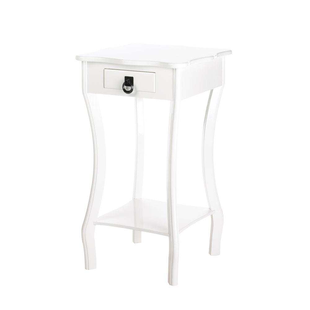 wooden accent table decorative decor scalloped white tables small wood contemporary with drawers perspex inexpensive console home library furniture narrow cabinet stein world