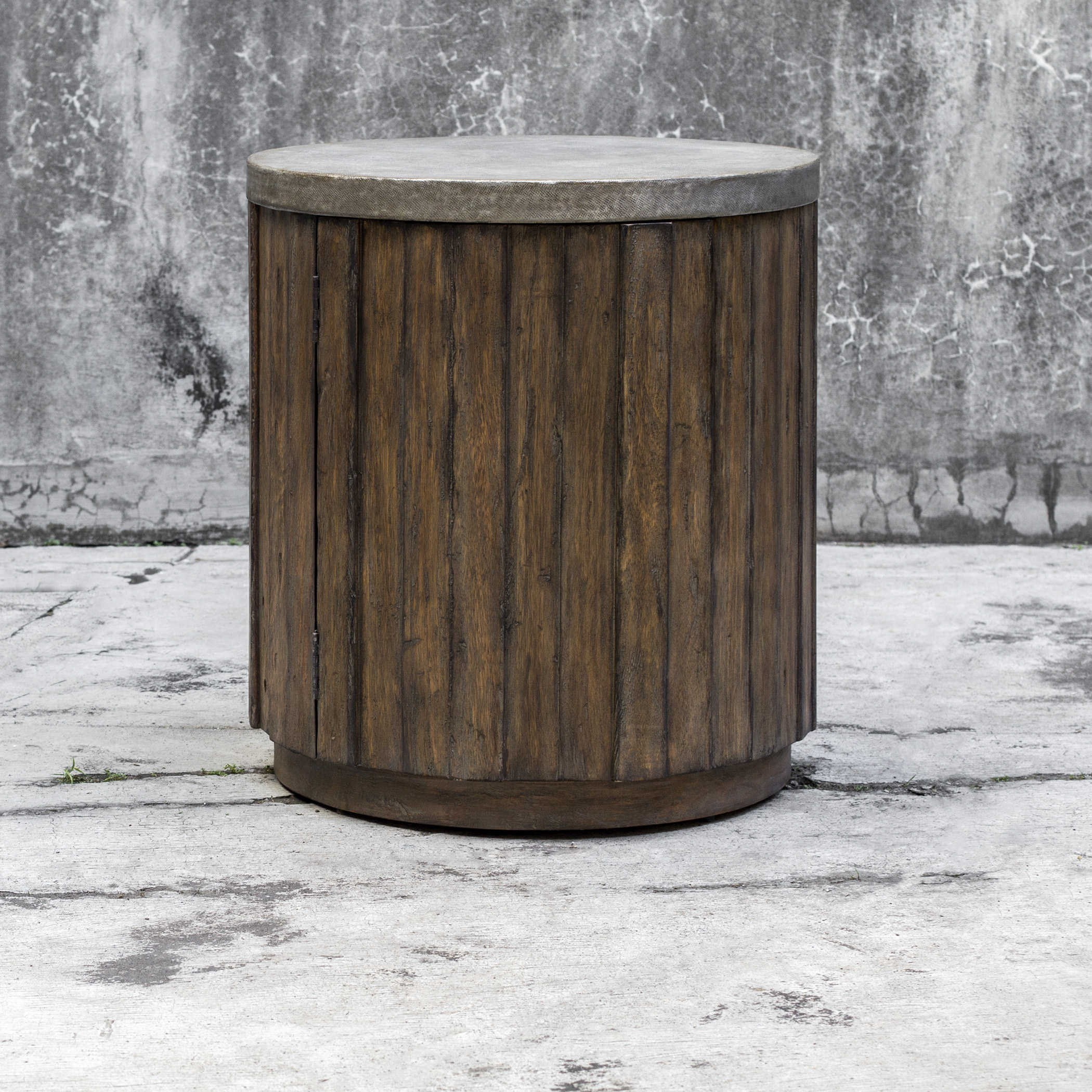wooden drum end table tops accent furniture avani mango wood uttermost maxfield decorative metal legs thai folding patio round toronto high top bistro butcher block island dark