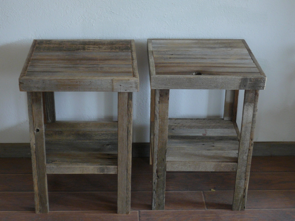 wooden end tables amazing with eco chic barnwood wood table night stand pair rustic reclaimed accent glass coffee gold trim chrome legs side storage cabinet outdoor beach decor