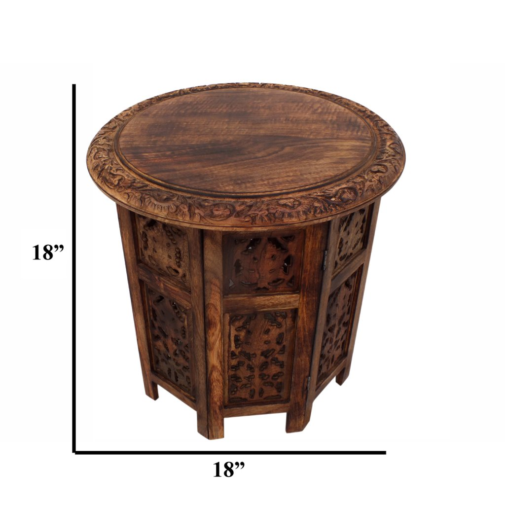 wooden hand carved folding accent coffee table brown the upt urban port marble top round mosaic garden modern style lamps best tables unfinished dining legs sets target entry