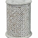 wooden intricate filigree cutout pattern drum table antique white manila cylinder accent brass vanity home goods garage door threshold contemporary silver lamps circular stacking 150x150