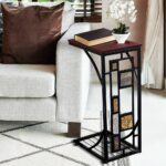 wooden metal accent side end snack table drink cup holder sofa details about couch storage cordless lamps for living room oriental ceramic kitchen cupboards mapex drum stool 150x150