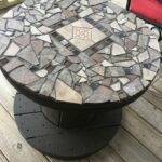 wooden spool with stone mosaic top for patio table cool idea outdoor accent side storage baskets chestnut dale home crystal lamp clear acrylic end folding glass coffee knotty pine 150x150
