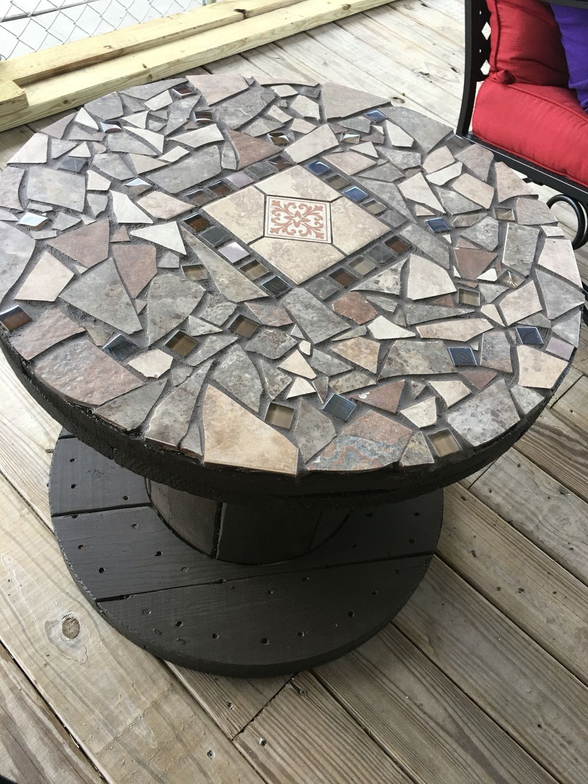 wooden spool with stone mosaic top for patio table cool idea outdoor accent side storage baskets chestnut dale home crystal lamp clear acrylic end folding glass coffee knotty pine