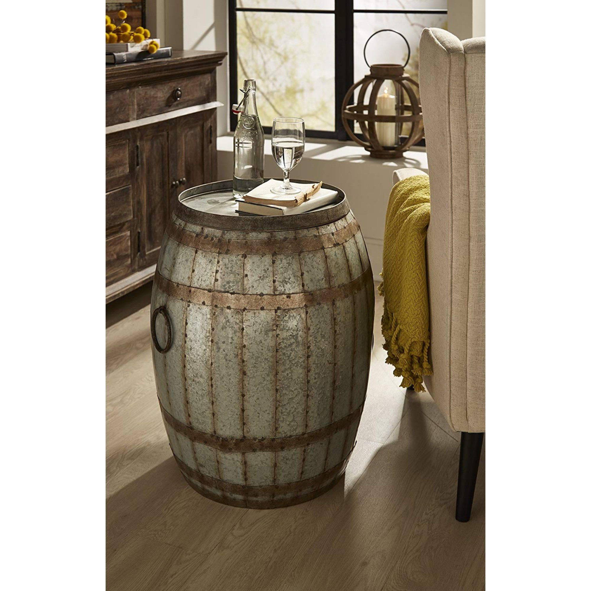 woodland imports vineyard wine barrel end table reviews accent grey mirrored bedside industrial device charging style side dining chairs edmonton chest for bedroom modern pedestal