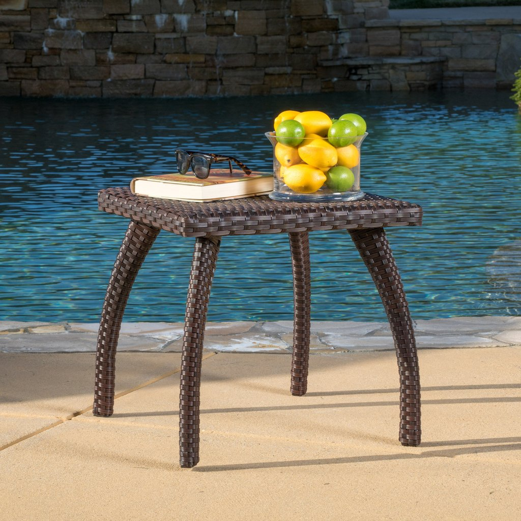 woodridge outdoor brown wicker side table gdf studio slim console with drawers patio umbrella base included very thin room essentials desk accent chair dining and chairs pier one