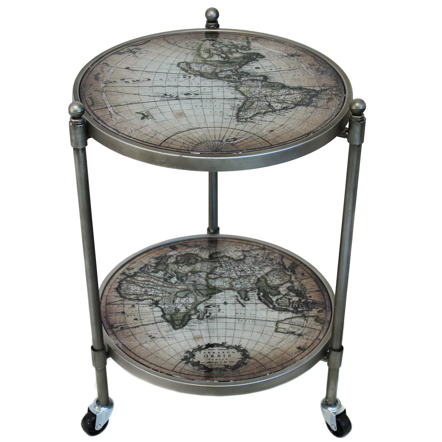 world globe wheeled accent table free shipping today with wheels small half moon console colorful end tables round glass nest outdoor furniture chairs oak dining tiny bedside all