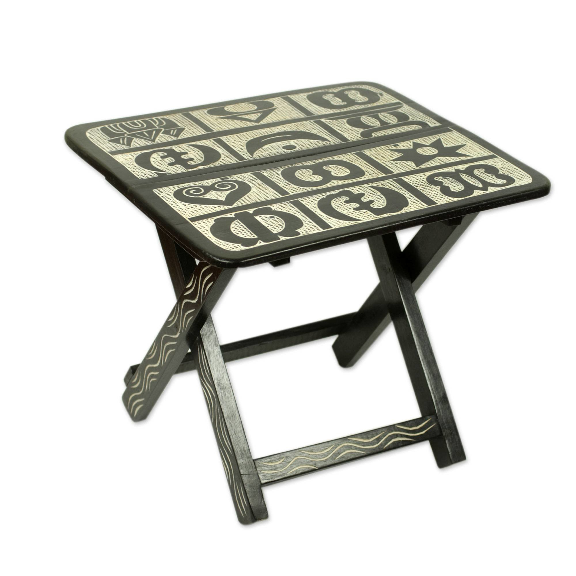 world menagerie luiza adinkra wood folding accent table outdoor storage bench with cushion ikea rectangle dining cloth drum throne height sheesham side tile top patio furniture