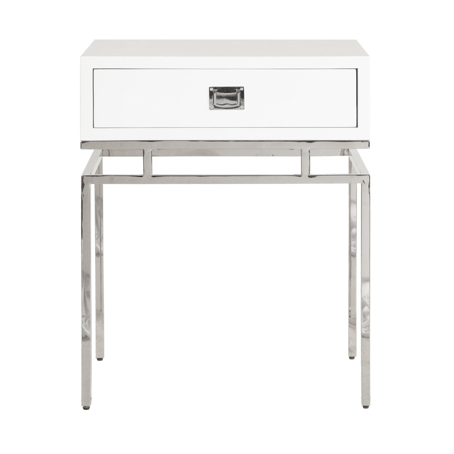 worlds away cayson white lacquer side table with nickel accents accent retro bedroom furniture pier one art navy tablecloth small clear coffee ikea storage bins glass cabinet