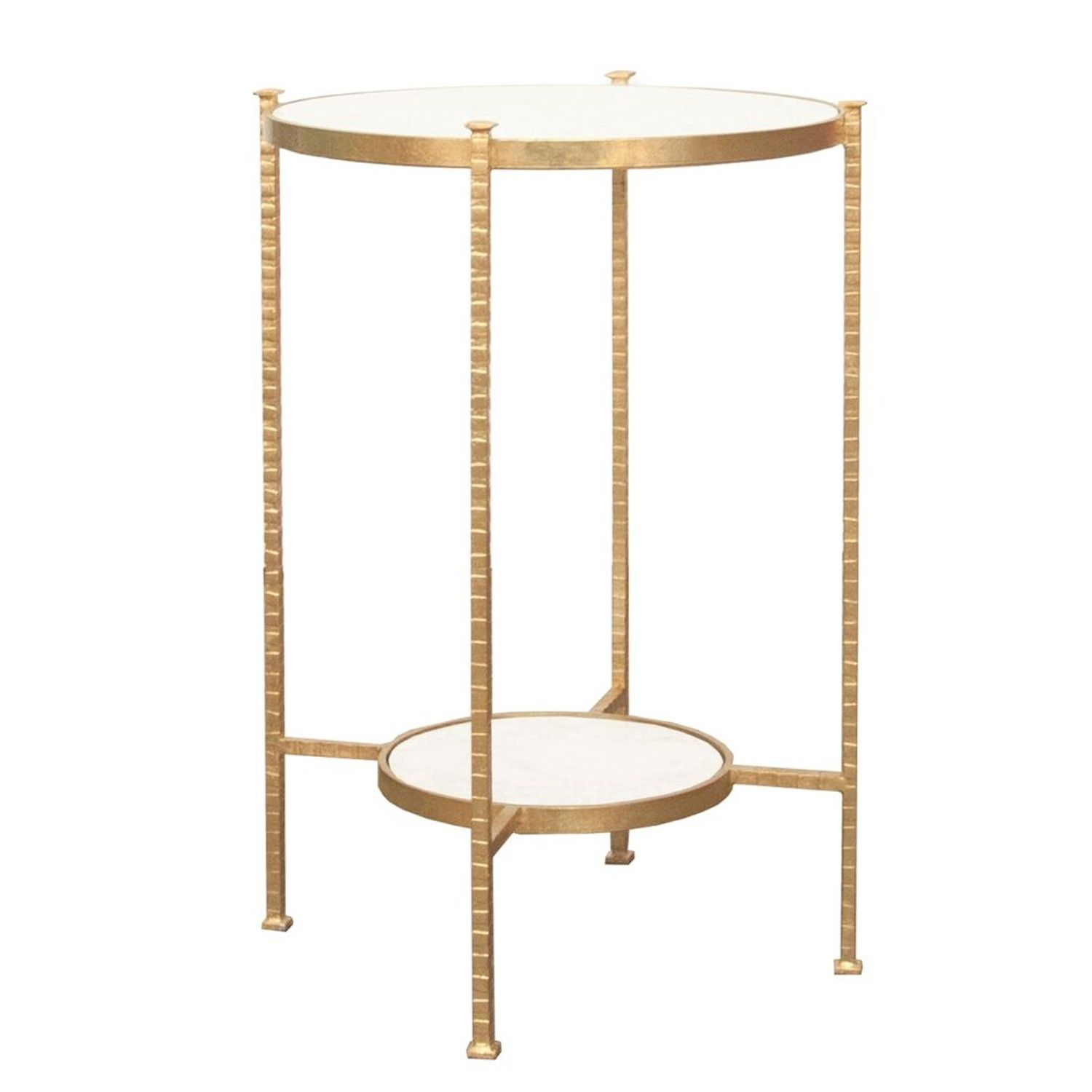 worlds away cory side table gold tables end accent with marble top round two tier hammered iron white carrara leaf metal basket dale tiffany hummingbird lamp wood living room