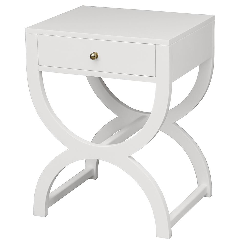 worlds away drawer hourglass side table matte white lacquer alexis angle accent inch square tablecloth mosaic bistro set round nightstand best furniture lawn chair cushions