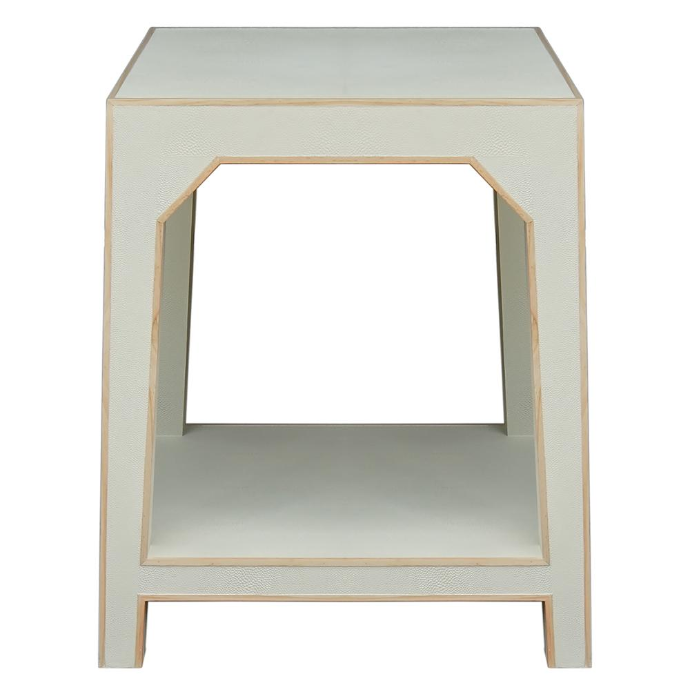 worlds away faux shagreen accent table with wood edging cream walsh colorful outdoor side tables couch covers target white barn door behind the solid cherry end quatrefoil front