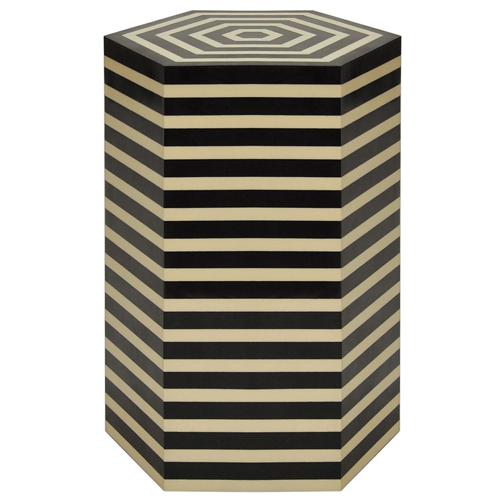 worlds away hexagonal striped accent table black off white resin axel transitional furniture red living room decor marble dining designs deck umbrella rectangular lamp shades