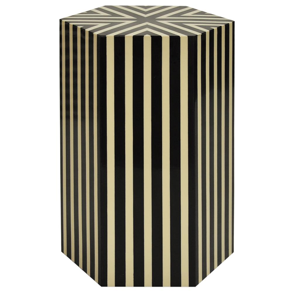 worlds away hexagonal vertical striped accent table black off whit zane white flannel backed tablecloth sauder milled cherry end under cabinet lighting marble dining designs