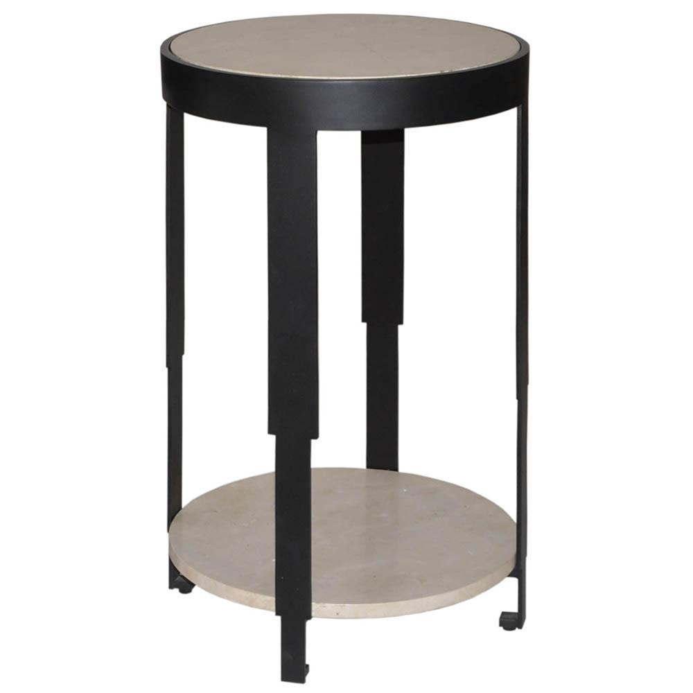 worlds away tier round accent table with honed stone black sherman blk tiered metal vintage two acrylic coffee teal and chairs nook plus modern light marble tops folding wide
