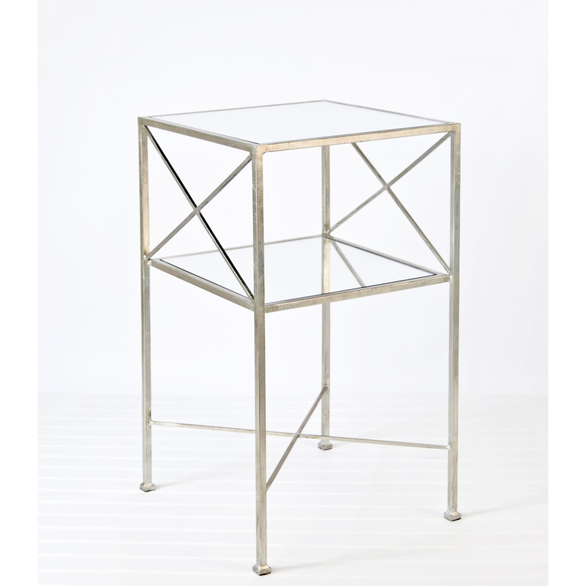 worlds away two tier square side table with silver leaf casegoods mila accent west elm tablecloth meyda floor lamps cube cocktail small chest cabinet hanging wall clock living end